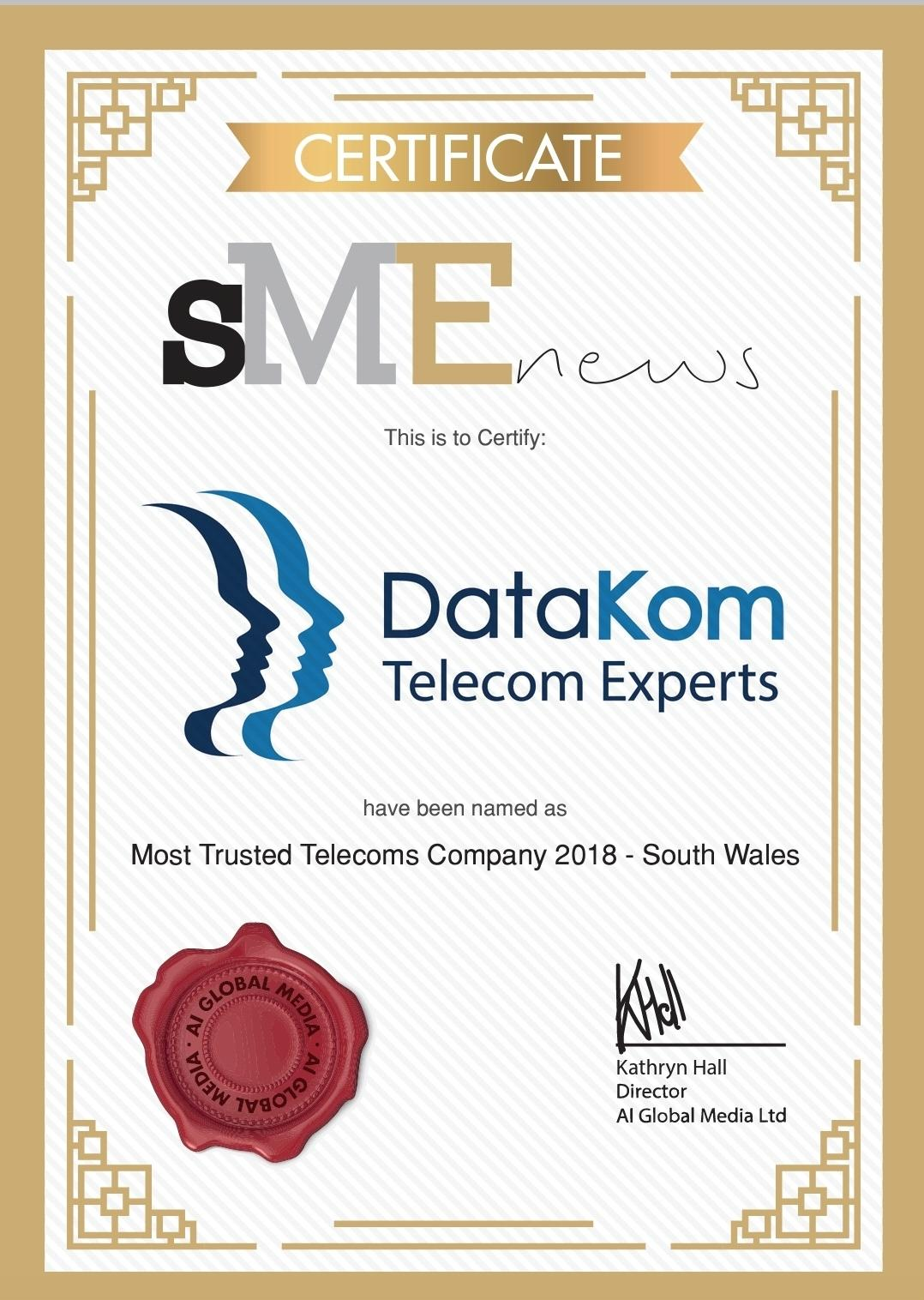 DatKom WiN Most Trusted Telecoms Company 2018 - South Wales Award